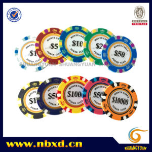 14G 3-Tone Crown Monte Carlo Clay Poker Chip with Gold Trim Sticker (SY-E36) pictures & photos