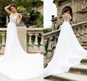 2018 Lace Chiffon Bridal Gowns Light Country Beach Wedding Dress Lb184 pictures & photos