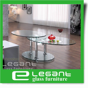 Rotatable Tempered Glass Coffee Table with Stainless Steel Base pictures & photos