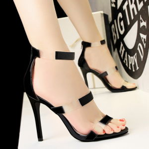 Women′s High Heel Sandal PU Material Open Toe Hollow Sandals Eight Colors Size 34-39 pictures & photos