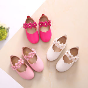 New Korean Flower Decoration Sweet Princess White Beanie Girls School Shoes pictures & photos