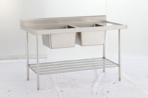 Stainless Steel 2-Sink Worktable pictures & photos