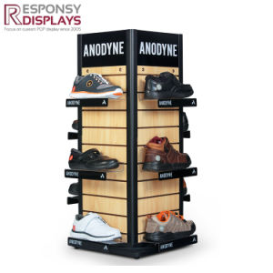 Standing Custom Logo Wood Rolling Shoes Store Display Rack pictures & photos