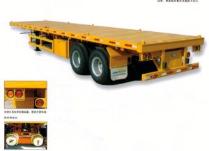 China High Quality 2 Axles Flatbed Container Semitrailer for Sale pictures & photos