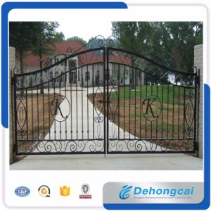 Galvanized Wrought Iron House Main Gate/Steel Driveway Gate/Entrance Gate with Black Powder Coating pictures & photos