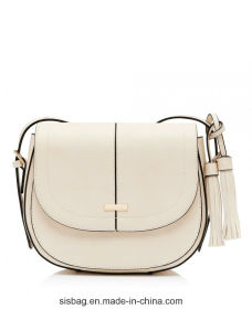 Fashion Beige Color Saddle Bag PU Crosssbody Ladies Bag pictures & photos