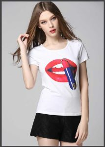Wholesale Women Cheap Custom 100% Cotton T-Shirts with Silk Screen Printing pictures & photos
