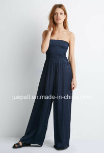 2015 New Design Strapless Smocked Wide-Leg Jumpsuit pictures & photos