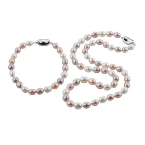 925 Silver Natural Cultured Real Fresh Water Freshwater Pearl Jewelry Set