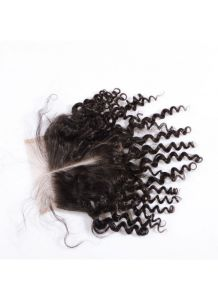 8A Unprocessed Virgin Human Hair Middle Parting4X4 Deep Curly Lace Front Closure with Baby Hair Bleached Knots pictures & photos
