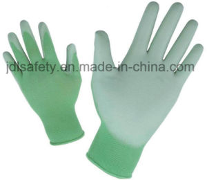 Green Nylon Work Glove with PU Palm Coated (PN8004G) pictures & photos