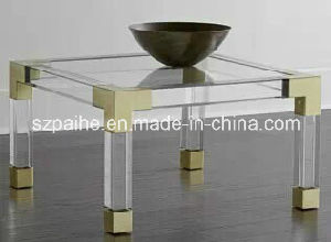 Plexiglass Square Coffee Table with Metal Decoration Parts