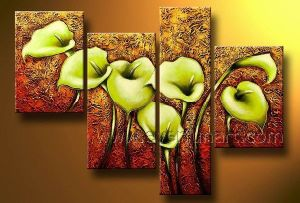 Handmade Group Flower Painting on Canvas for Home Decoration (FL4-147) pictures & photos