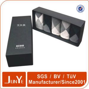 Lid and Bottom Black Paper Box Used for Premium Socks Gift Set Packaging Logo on