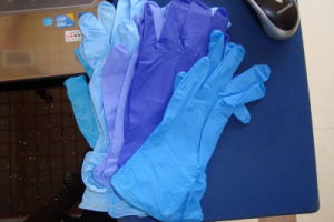 Hot Sale and Stock for Light Blue Color Finger-Tip Textured Disposable Nitrile Gloves pictures & photos
