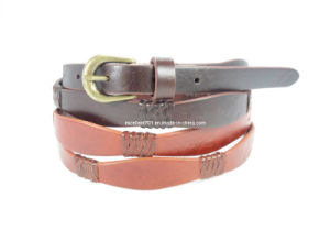 Skinny Fashion Lady Leather Belt with Metal Buckle (EUBL0791-15) pictures & photos
