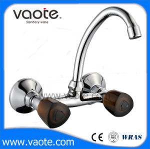 Double Handle Brass Body Sink Wall Faucet (VT60602) pictures & photos