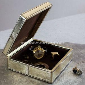 Metallic Leather Jewellery Box Square Jewelry Case pictures & photos