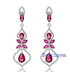 Fashion Sterling Silver with Pink Ruby Earrings