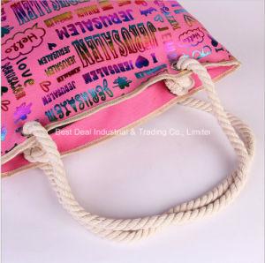 Beach Bag Canvas Handbags Korean Trend Bronzing Letters Casual Mian Sheng Portable Shoulder Bag pictures & photos