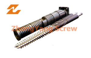 Twin Conical Screw Barrel Double Screw Barrel Extruder Screw pictures & photos