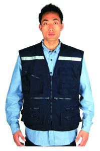 Chile 100% Polyester 115GSM Man Work Safety Reflecting Geo Vest with 2′′ Refelctive Tape pictures & photos