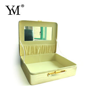 2015 Luxury Gold PVC Leather Cosmetic Case pictures & photos