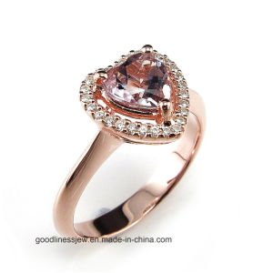 Romantic Style 925 Sliver Wedding Ring Golden with Heart Shape Stone (R0077py) pictures & photos