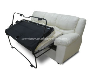 Home Furniture Italian Design Leather Reclinable Sofa with Pull out Bed