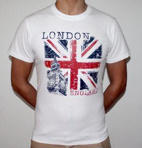Men White T-Shirt Stylish England UK Flag Design