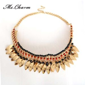 Top Selling Gold-Color Metal Tassels Black Red Beads Necklaces pictures & photos