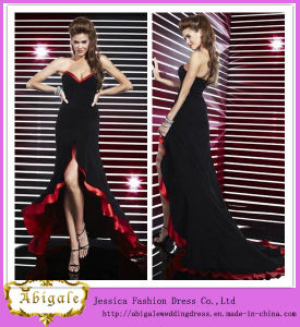 New Sexy Chiffon Black and Red Sweetheart Sleeveless Zipper Back Long Short Front Long Back Prom Dress Yj0067