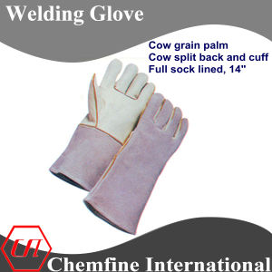 Cow Grain Palm, Cow Split Back and Cuff, Full Sock Lined Leather Welding Glove pictures & photos