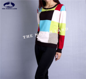 Cashmere Crew Neck Pullover with Check Intersia pictures & photos