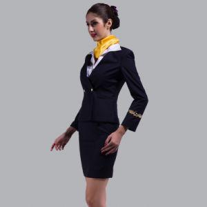 Elegant Skirt Suit Flight Attendant Uniform, Fashion Skirt Airline Stewardess Uniform pictures & photos