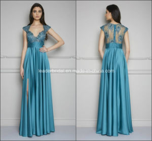 Turquoise Prom Gowns Split Lace Party Evening Dresses Z5034 pictures & photos