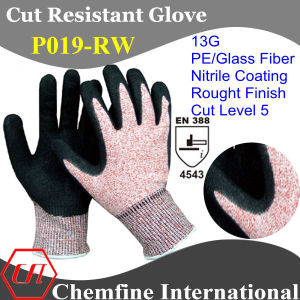 13G Red PE/Glass Fiber Knitted Glove with Nitrile Rough Coated Palm/ En388: 4543 pictures & photos