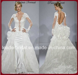 Illusion Sleeves Wedding Dress White Satin Lace Bridal Wedding Gown Wd157 pictures & photos