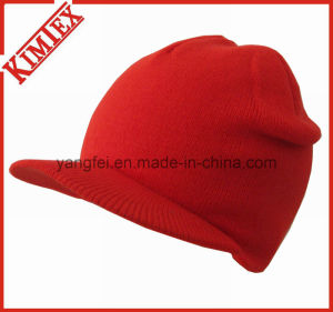 Winter Acrylic Fashion Knitted Billed Brim Hat pictures & photos