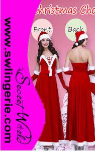 Deluxe Long Ladies Santa Costume T1136
