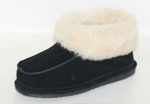 Sheepskin Slipper for Women and Girls MB50028W Black.