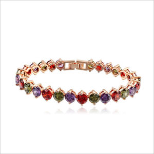 VAGULA High Quality AAA Zircon Stone Real Gold Plated Copper Crystal Bracelet Rhinestone pictures & photos