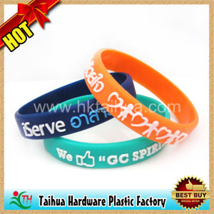 Highly Durable Embossed Silicone Wrist Bands (TH-06009) pictures & photos