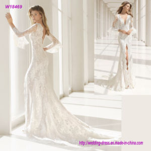 Delicate Lace Bodice and Collar Princess Wedding Dress with a Beautiful Natural Slide Gossamer Skirt pictures & photos