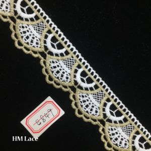 4cm Gold and White Zari Lace, Formal Bridal Wear Scalloped Trimming Lace Hme849 pictures & photos