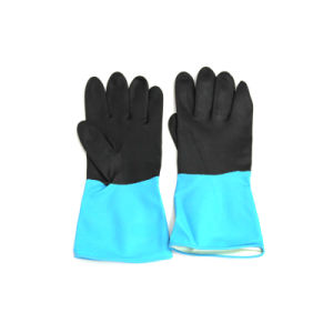Latex Industrial Gloves (blue/black) Double Color 100grams pictures & photos