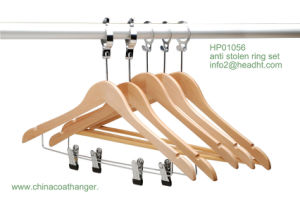 Anti-Stolen Hanger with Bar, Multifunctional Wooden Clothes Hangers, Bottom Hanger for Pants pictures & photos