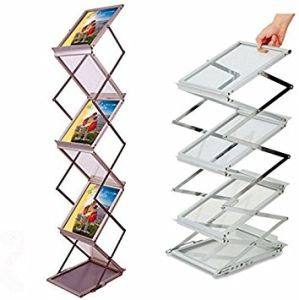 Folding Literature Rack Floor Standing Portable Magazine Exhibition Booth A4 Black Brochure Rack Display Stand, Advertising Literature Holder Pop up pictures & photos