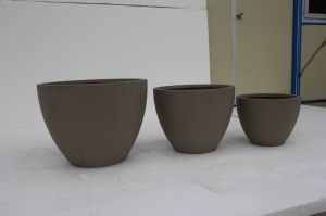 Outdoor Low Bowl Fibreclay Round Garden Planter