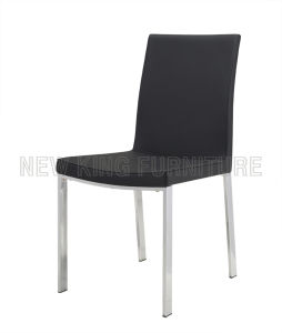 Modern Cheap Chrome Steel Foot PU Leather Dining Chair (NK-DC068)